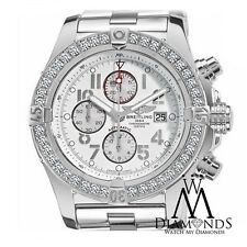 Breitling Super Avenger A13370 White Dial Arabic 3.20ct 1 Row Diamond Bezel