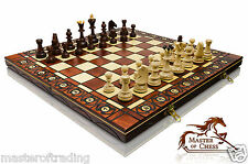 GREAT ''SENATOR'' WOODEN CHESS SET - STUNNING HAND CRAFTED BOARD AND PIECES !!!