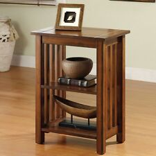Mission Antique Oak Solid Wood Hallway Telephone Plant Stand Snack Table Shelves