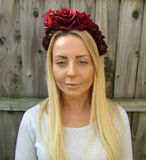 Large Burgundy Deep Red Rose Flower Garland Headband Hair Crown Headpiece 1928