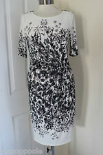 size 8 beige and black patterned dress from marks and spencer brand new