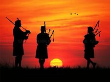 PHOTO MOCK UP SILHOUETTE SUNSET TRIO SCOTTISH PIPERS ART PRINT POSTER MP3986A