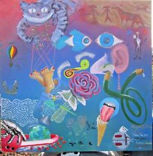 """WORD ASSOCIATION collaborative acrylic 36"""" x 36"""" colorful surrealistic painting"""