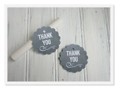 Chalkboard Favor Tags, Wedding Thank You Tags, Scalloped Round Chalkboard Favor