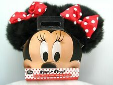 NEW MINNIE MOUSE EARS Hair Clip On Barrette COSTUME Fuzzy Plush POLKA DOT BOW