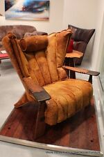 "41"" W club chair bronze Leather italian distressed solid exotic wood Available!"