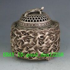 Chinese Silver Bronze Hand-Carved Crane Incense Burner & Lid   w Qian Long  Mark