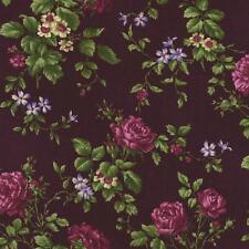 RJR Marianne Elizabeth Harlow Burgundy Black Mauve Rose Floral Quilt Fabric