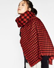 "bnwt ZARA SCARF 80"" X 36"" RED BLACK CHECKED REVERSIBLE COSY WOOL FEEL BLANKET"