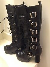 DEMONIA BOOTS-SZ 6-Women's-Tall-Gothic-Punk-Black-Lace Up & Zip Up