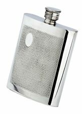 6 oz. English Pewter Flask With Barley Finish, Initial Engraved Free, New In Box