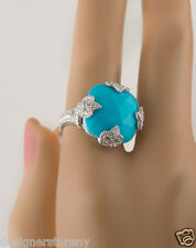 Judith Ripka Sterling Silver Turquoise Cushion Ring w/White Sapphire size 6