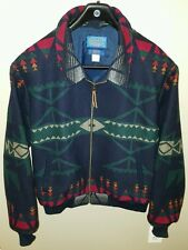 Pendleton High Grade Western Wear Indian Blanket Zip Jacket Navy XL Colorful