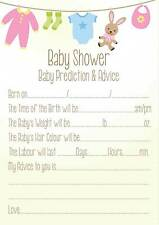 16 Baby Shower Prediction Advice Cards Boys or Girls NEUTRAL Party Keepsake