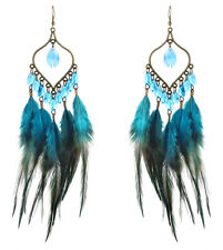 F2346 Multi-Color downy Feather earrings bead bronze leaf dangle hook ornament