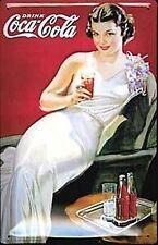 Coca Cola Deco Girl Embossed Metal Sign (hi 3020)