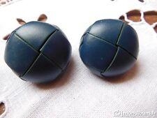 lot 2 gros boutons anciens vintage en cuir bleu diamètre: 2,5 cm BB