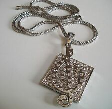 Silver Finish Hip Hop Bling MUSICAL NOTE Pendant With 36''  Chain