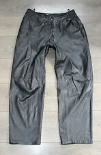 "Vintage Black Leather Riding Biker Motorcycle Trousers Pants Jeans Size W33"" L28"