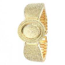 Alias Kim Oval Gold Crystal Face Steel Bracelet Women Fashion Bangle Wrist Watch