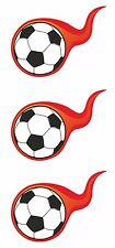 3x Flaming Soccer Foot ball Stickers Door Laptop Tablet PC Locker Hard Hat Car