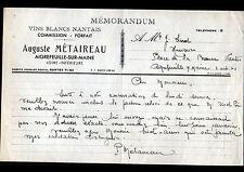 """AIGREFEUILLE-sur-MAINE (44) VINS BLANCS NANTAIS """"Auguste METAIREAU"""" en 1940"""