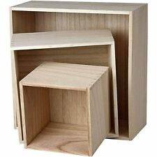 Square Wooden Wall Storage Box - Craft Home Display Decorate - Set of 3 Boxes