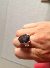 ARGENTO Sterling Anello con stupendo blu a forma di pera con strass