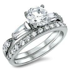 .925 Sterling Silver Wedding Ring set size 6 Engagement CZ Cubic Zirconia ww30