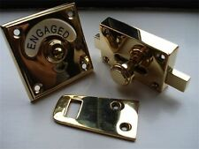 "BRASS ""CLASSIC"" VACANT ENGAGED TOILET BATHROOM LOCK BOLT INDICATOR DOOR KNOBS"