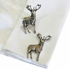 English Pewter STAG  Cufflinks. Xmas Gift. Hunting Animal Antler (ref CA31)