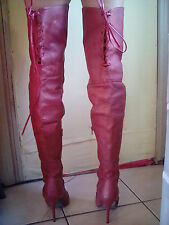 Used, Red leather Thigh high boots, womens