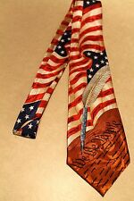 American Flags w/ We The People On A Brand New 100% Polyester Neck Tie!