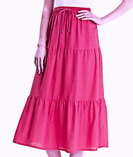 SIMPLY BE Size 16 18 Hot Pink Linen Mix Midi SKIRT Holiday Versatile New Fab