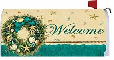 Welcome Coastal Seashell Starfish Wreath Magnetic Mailbox Cover