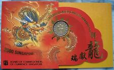 2000 SINGAPORE - OFFICIAL MINT SET (7) w/ BI-METAL $5 - YEAR of DRAGON - HONGBAO
