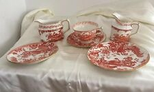 Royal Crown Derby Red Aves 6 Pieces. Cup, Saucers, Jugs. Older And Perfect.