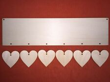 LONG PLAQUE with 6 hearts (each 5cm) PLAIN UNPAINTED BLANK WOODEN HANGING CRAFT
