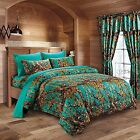 7 PC TEAL CAMO COMFORTER AND SHEET SET FULL CAMOUFLAGE WOODS CURTAINS