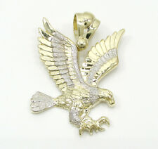 10 Grams Meduim Mens 10k Yellow Real Gold Bald Flying Eagle Charm Pendant