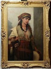 Antique Italian 19th century painting oil on canvas : Portrait of Young Gipsy Gi
