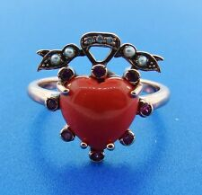Victorian 9k Rose Gold Ruby, Diamond, and Seed Pearl Coral Heart Ring