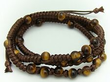 Natural gemstone TIGER EYE 6MM beads brown necklace/3 wrap bracelet