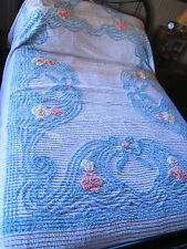 VINTAGE FLUFFY BLUE, WHITE, PINK CHENILLE  FLOWER COTTON  BEDSPREAD EUC