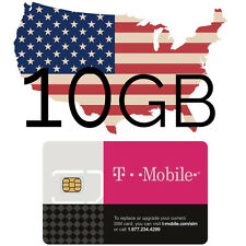 Prepaid t-Mobile USA SIM Karte mit 10 GB Datenvolumen + nat. Tel.