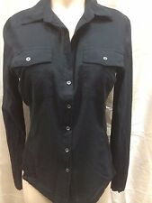 James Perse WLC3341 womens black button down shirt blouse sz 3 L new