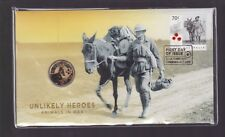 2015 Unlikely Heroes Animals in War Stamp & $1 donkey Coin PNC mule