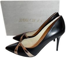 Jimmy Choo Haxeel' Pointy Toe Pump Black & Rose Gold Criss Cross Shoes 40.5-9.5