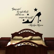 Marilyn Monroe Give a Girl the right shoes Wall Quote ART Decal Stickers