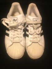 Vintage Mens Adidas High Point Low Shoes White w/ Blue Stripes Size 41/2 Used